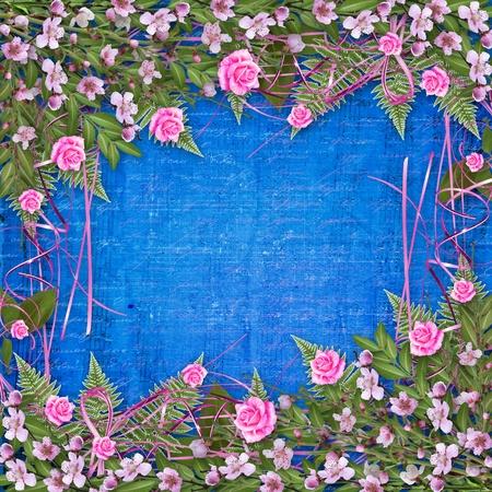 Criture abstraite arrière-plan avec bouquet floral de bel Banque d'images - 9831903