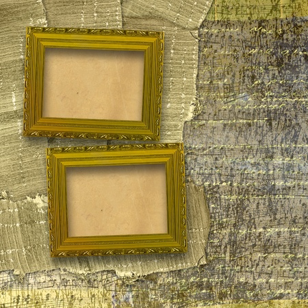 Old wooden frames for photo on the abstract paper background photo