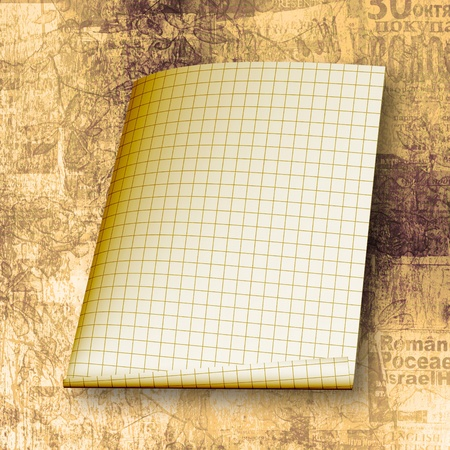 Torn yellow sheet on the abstract paper background photo