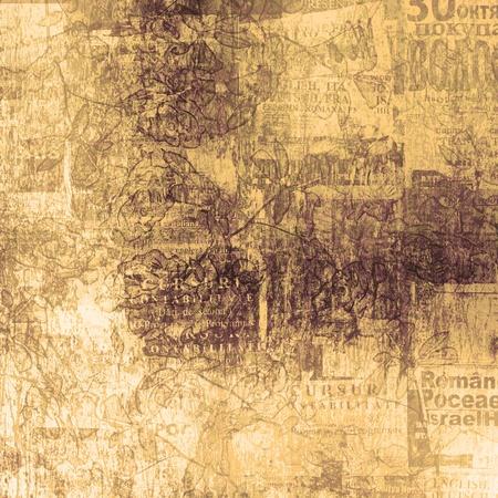 oude krant: Kras abstracte achtergrond met bloemen mooi sieraad