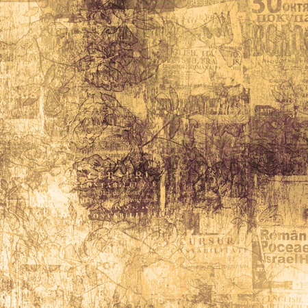 Old newspaper: Scratch abstract background with floral beautiful ornament