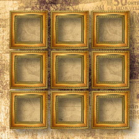 typesetting: Old wooden frames for photo on the abstract paper background