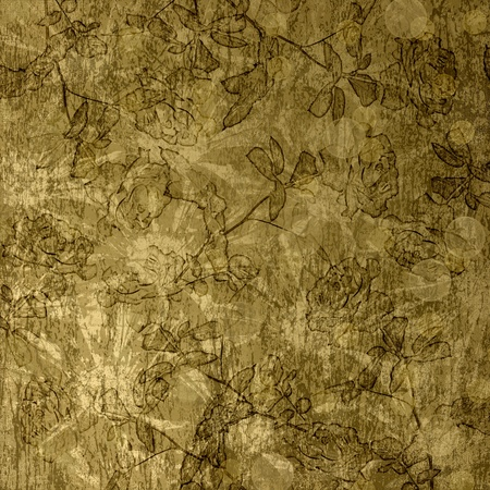 frayed: Scratch abstract background with floral beautiful ornament