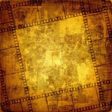 Old frame and grunge  filmstrip on the grunge background Foto de archivo