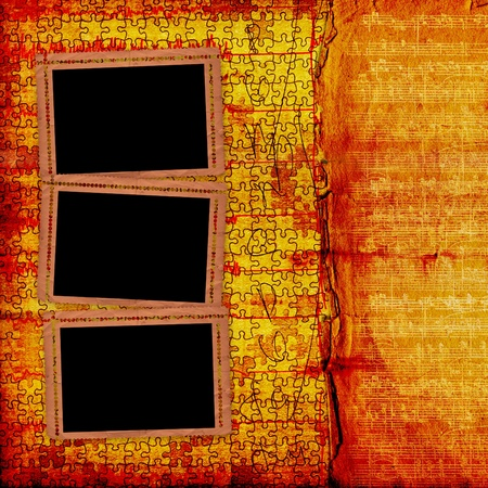 Old grunge paper frames on the ancient background photo