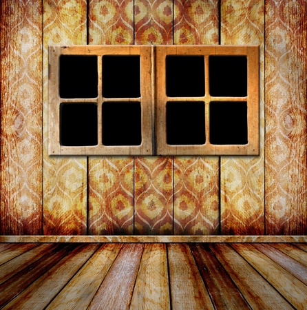Grunge portholes on the ancient wooden background  photo