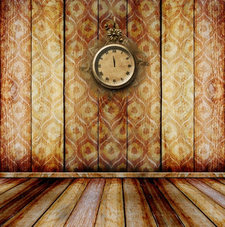 wooden clock: Antique clock face with lace on the wall in the room