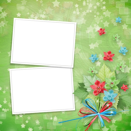 card for invitation or congratulation with frames and bunch of orchids Stock Photo - 10281946