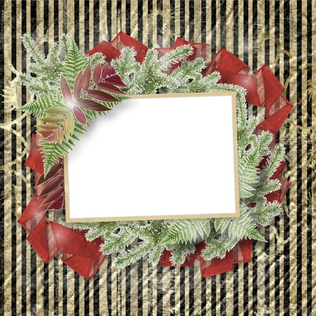 hoarfrost: Abstract striped background with paper frame and bunch of twigs Christmas trees Stock Photo