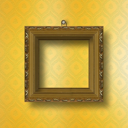 Old wooden frame for photo on the abstract paper background Stock Photo - 10281956