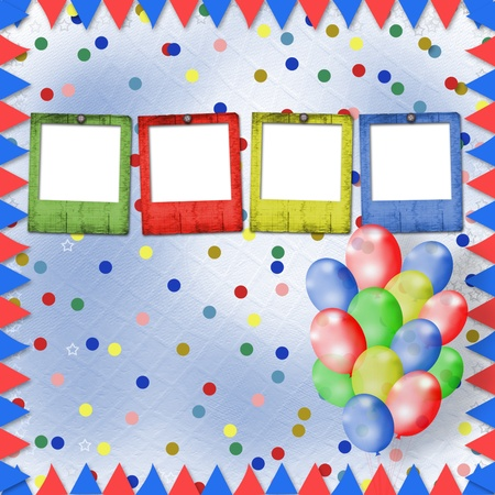 Bright multicolored background with balloons and confetti  photo