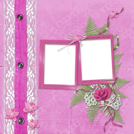 mother of pearl: Pink album for photos with jeans, lace and orchid Stock Photo