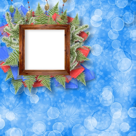 Abstract star background with wooden frame and bunch of twigs Christmas trees photo