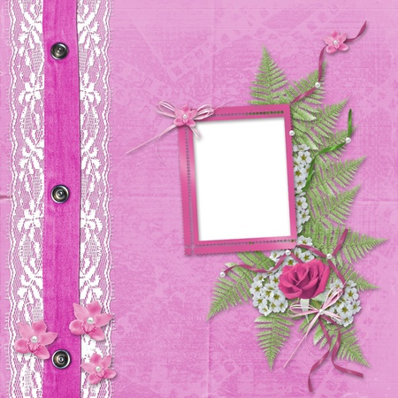 album background: Pink album for photos with jeans, lace and orchid Stock Photo