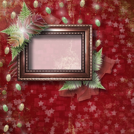 hoarfrost: Abstract star background with wooden frame and bunch of twigs