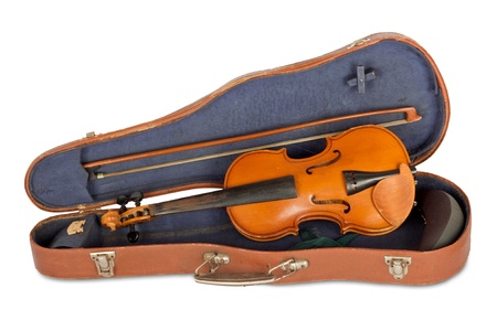 Old violin case with a bow on a white background isolated photo