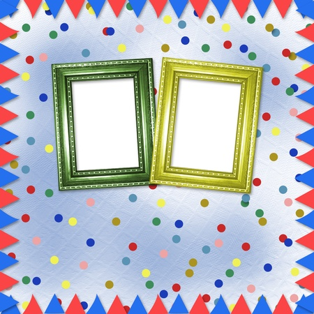 Bright multicolored background with frames, flags and confetti  photo
