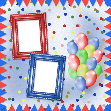 fourth birthday: Bright multicolored background with frames, balloons and confetti  Stock Photo