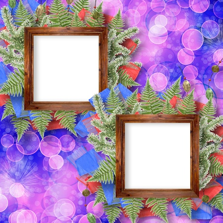 adorning: Abstract star background with wooden frame and bunch of twigs Christmas trees