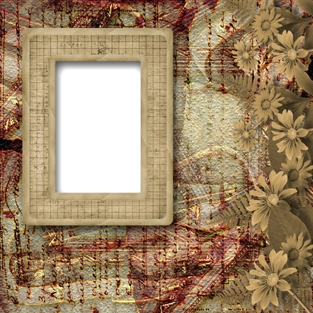 aster: Herbarium of flowers and leaves on the floral background with frame  Stock Photo