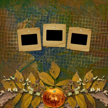 scrap metal: Grunge papers design in scrapbooking style with frame and autumn foliage