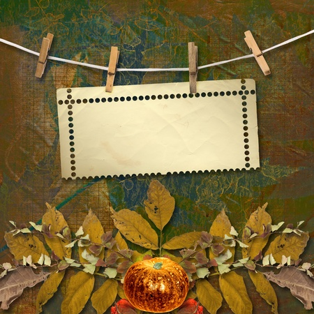 clothespeg: Grunge papers design in scrapbooking style with frame and autumn foliage