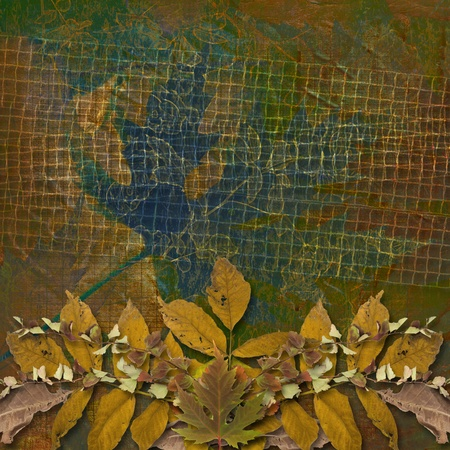 Grunge papers design in scrapbooking style with autumn foliage  photo