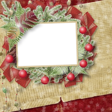 Abstract star background with paper frame and bunch of twigs Christmas trees photo