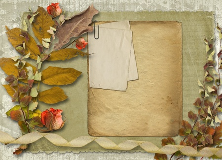 Grunge papers design in scrapbooking style with slides and foliage Stock Photo - 10900973