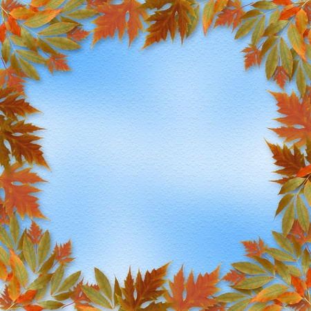 Bright autumn leaves on the abstract with paper frame photo