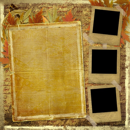 photo slide: Grunge papers design in scrapbooking style with foliage and blank for text