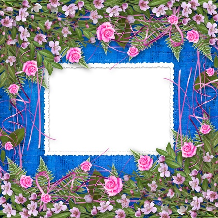 Writing abstract background with frame and floral beautiful bouquet photo