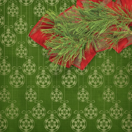 Christmas greeting card with branches of spruce and bows Stock Photo - 11086963