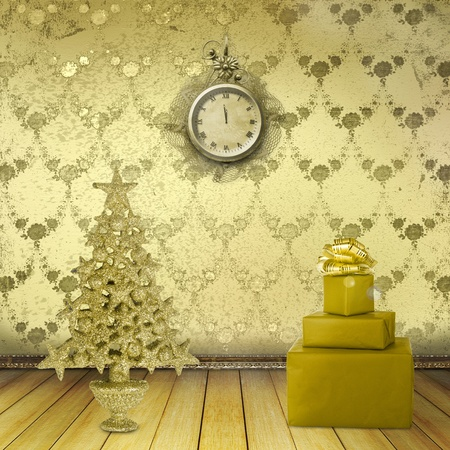 Christmas tree in the old room with clocks Stock Photo - 11086950