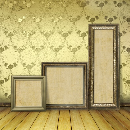 Wooden frames in the old room with the remains former luxury photo