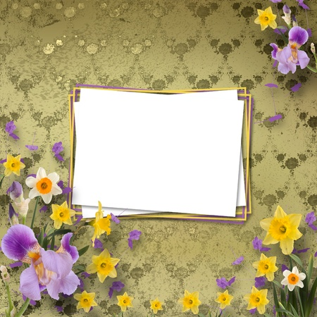 Beautiful frame with irises and daffodils on the background the wall with a pattern photo