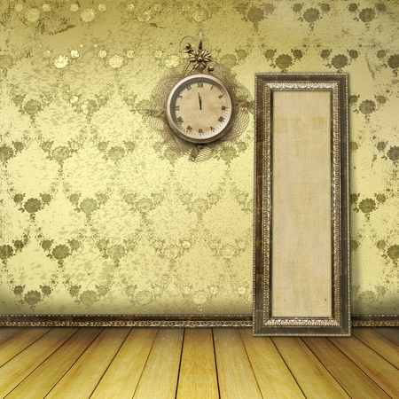 Antique clock face with lace on the wall in the room  Stock Photo - 11086989