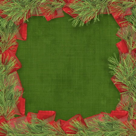 Christmas greeting card with branches of spruce and bows Stock Photo - 11086990