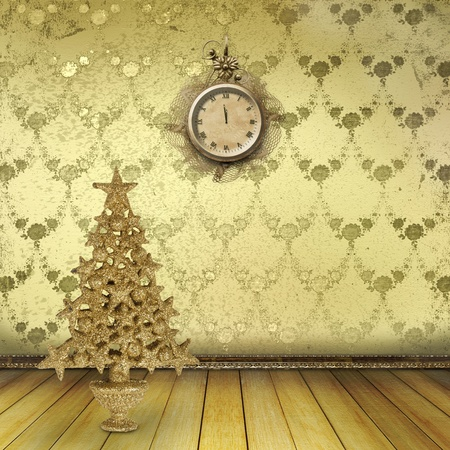 Christmas tree in the old room with clocks photo