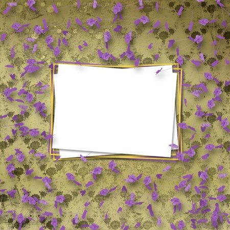 Beautiful frame with flower on the background the wall with a pattern photo