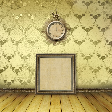 Antique clock face with lace on the wall in the room  Stock Photo - 11087025