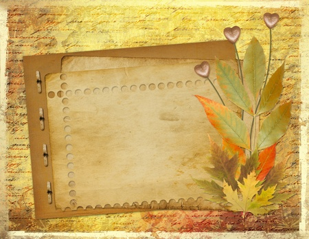 Grunge papers design in scrapbooking style with foliage and hearts photo