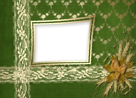 Card for invitation or congratulation with buttonhole and lace Stock Photo - 11127100