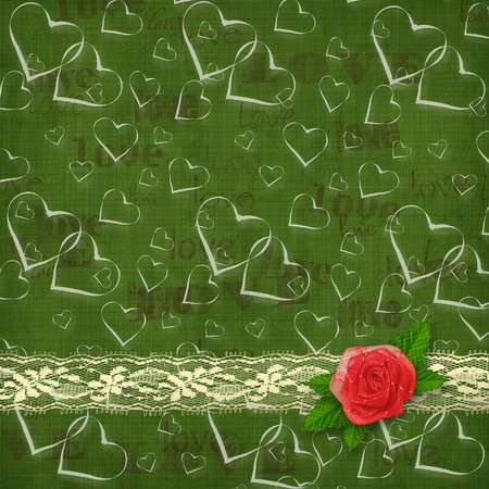 Card for congratulation or invitation with red rose and hearts  photo