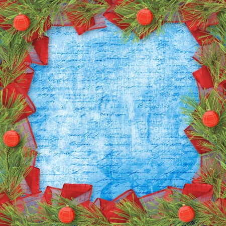 trumpery: Christmas greeting card with branches of spruce and bows