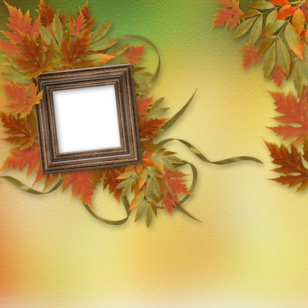 maple wood texture: Bright autumn leaves on the abstract background with wooden frame Stock Photo