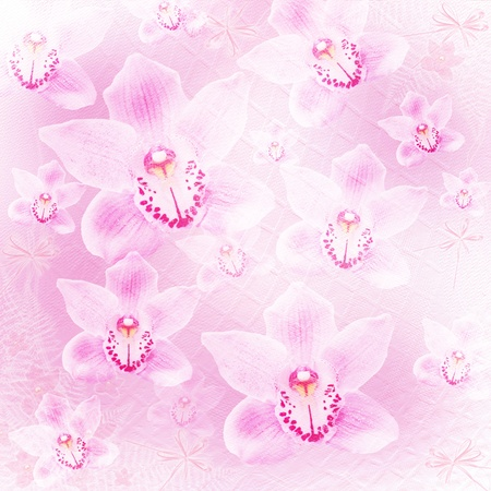 betrothal: Card for invitation or congratulation with orchids and bow