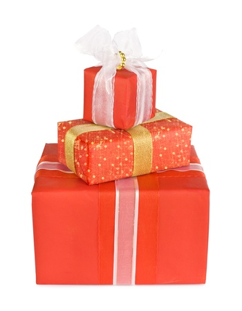 Holiday gift boxes decorated with bows and ribbons isolated on white background Stock Photo - 11496477