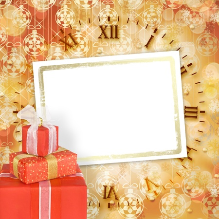 Holiday gift boxes decorated with bows and ribbons on the bright abstract background Stock Photo - 11496499