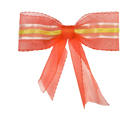 Red bow with gold tape and ribbons on white background photo